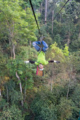"""Flying"" upside down on zipline at canopy tour"