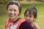 Young Lisu tribal woman, and her little girl