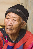 Old woman, 86, wearing traditional dress of the Lisu Tribe