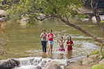 Teenage girls play in Mae Taeng River, Chiang Mai area of northern Thailand