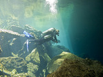 Scuba diving into Chac Mool, one of the cave systems on the Yucatan Peninsula of Mexico.