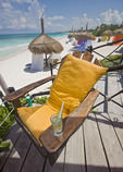 Beach scene at Al Cielo, a resort on the Riviera Maya along the Yucatan Peninsula of Mexico.