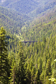 One of the many trestles (train bridges) along the Hiawatha Trail, a bicycle and hiking trail in Idaho, USA.