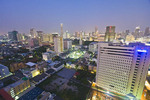 Aerial view just after sunset of downtown Bangkok, photographed from rooftop of Siam@Siam Design Hotel.