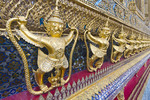 Garuda figures on the main building of Temple of the Emerald Buddha at Wat Phra Kaew at the The Grand Palace in Bangkok, Thailand.