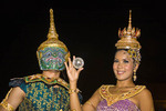 Performers in costume at Siam Niramit in Bangkok, Thailand. .