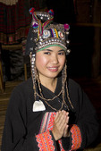Young woman in traditional Thai hill tribe costume.  .