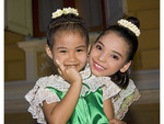 Young Thai children in traditional costume at Thailand Tourism Authority Golden Jubilee Grand Reception; Bangkok, Thailand.