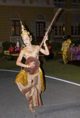 Young Thai man in traditional costume at Thailand Tourism Authority Golden Jubilee Grand Reception; Bangkok, Thailand.