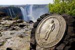 Plaque commerating explorer David Livingstone's first sighting of Victoria Falls on Nov. 16, 1855.