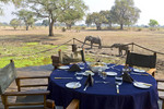 View of wild elephants seen from deck at Robin Pope Safari Lodge, South Luangwa Valley, Zambia, Africa.