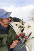 Sled dog guide prepares his dogs for a run in a rural area outside Park City, Utah.