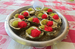 """Oysters Japanoise,"" raw oysters served with flying fish roe, ponzu sauce, chives and wasabi"