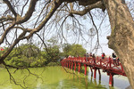 Popular red bridge over Hoan Kiem Lake in the historical center of Hanoi, Vietnam.