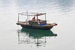"""Basket boat,"" small traditional boat in Ha Long Bay, Vietnam."