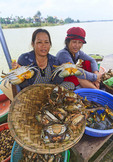 Women sell crabs at market along Thu Bon River in Hoi An, Vietnam.