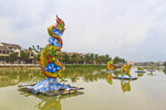 Floating decorations on the Thu Bon River in Old Town, Hoi An, Vietnam.