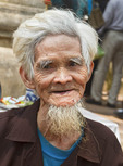 Elderly man outside Tay Phuong Pagoda in Yen Village, near Hanoi, Vietham.