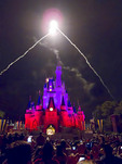 Fireworks explode over Cinderella's Castle in the Magic Kingdom, Disney World, Florida, USA.