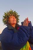 Barbara Bohonu, spiritual/cultural healer greeting sunrise with a chant at Haleakala Crater, Maui, Hawaii, USA.
