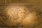 """Beautiful Woman"" tile mosaic, signature of Zippori, a national park in Israel that preserves Roman ruins."