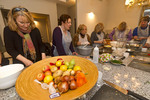 Visitors prepare food during cooking clinic led by celebrity chef Tali Friedman in Jerusalem, Israel.