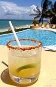 Cucumber - chili margarita rimmed with a chili-salt mix. Served at Mayakoba Resorts, Riviera Maya, Yucatan, Mexico.