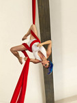 Aerial gymnists perform for guests at Royal Hotel in Play del Carmen, Riviera Maya, Yucatan, Mexico.