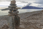 Inukshuk stands on beach at Grise Fjord on Ellesmere Island, Nunavut, Canada's northernmost community, made up virtually all of Inuit people.