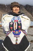 Inuit woman of Grise Fjord wearing a south Baffin amouti (parka).