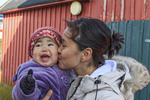 Young Inuit mother and her baby girl in Itilleq, Greenland.