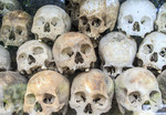 Skulls in memorial tower at Choeung Ek Killing Field, nine miles (14 km) southwest of Phnom Penh, where thousands of Cambodian people were killed and buried