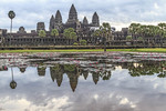 Reflection in a pond of water lilies of Angkor Wat.