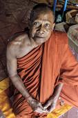 Buddhist monk at monastery in Kompong Pluk, a village of stilt houses near Siem Reap, Cambodia