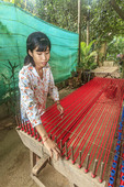 Silk weaving on Koh Dach Island, an island off central Phnom Penh, Cambodia.
