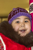Little Inuit (Eskimo) girl, about four years old, in a traditional Inuit parka, in Churchill, Manitoba, Canada.