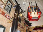 Historical display of old gondola and other artifacts at Park City Museum in Park City, Utah.