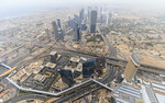 View of the city of Dubai from the top of the Burj Khalifa, world's tallest building. Dubai, UAE.