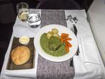 Steak dinner aboard Virgin Atlantic in upper class.