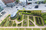 Aerial view of one of two roof gardens at the Fairmont Vancouver Waterfront hotel in Vancouver, British Columbia, Canada.