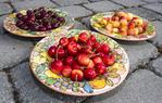 Orondo Ruby (front), Bing and Rainier cherries.