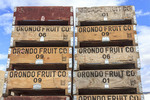 Packing pallet for Orondo Ruby cherries at G&C Farms near Wenatchee, WA, USA.