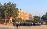 A troop of RCMP cadets standing at ease at the RCMP Depot cadet training academy in Regina, Saskatchewan, Canada.