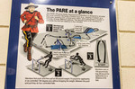 Poster detailing obstacles cadets must do six times in under four minutes to graduate RCMP academy to become Mounties.