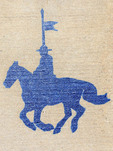 Stencil of a Mountie on his horse on a sidewalk at the RCMP Depot cadet training academy in Regina, Saskatchewan, Canada.