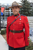 Cpl. Sean Chiddenton in dress uniform at the Sunset-Retreat Ceremony at the RCMP Depot cadet training academy in Regina, Saskatchewan, Canada.
