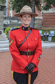 Cpl Penny Hermann in dress uniform at the Sunset-Retreat Ceremony held at the RCMP Depot cadet training academy in Regina, Saskatchewan, Canada.