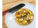 Socca, a chickpea pizza-like crepe, made in SchoolHaus Culinary Arts cooking class, Regina, Saskatchewan, Canada.