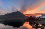 Sunset in the town of Eskifjordur in eastern iceland. The town sits at the head of one of Iceland's many fjords.