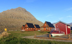 Cabins in the small town of Eskifjordur at Mjoeyri Guesthouse in eastern Iceland.